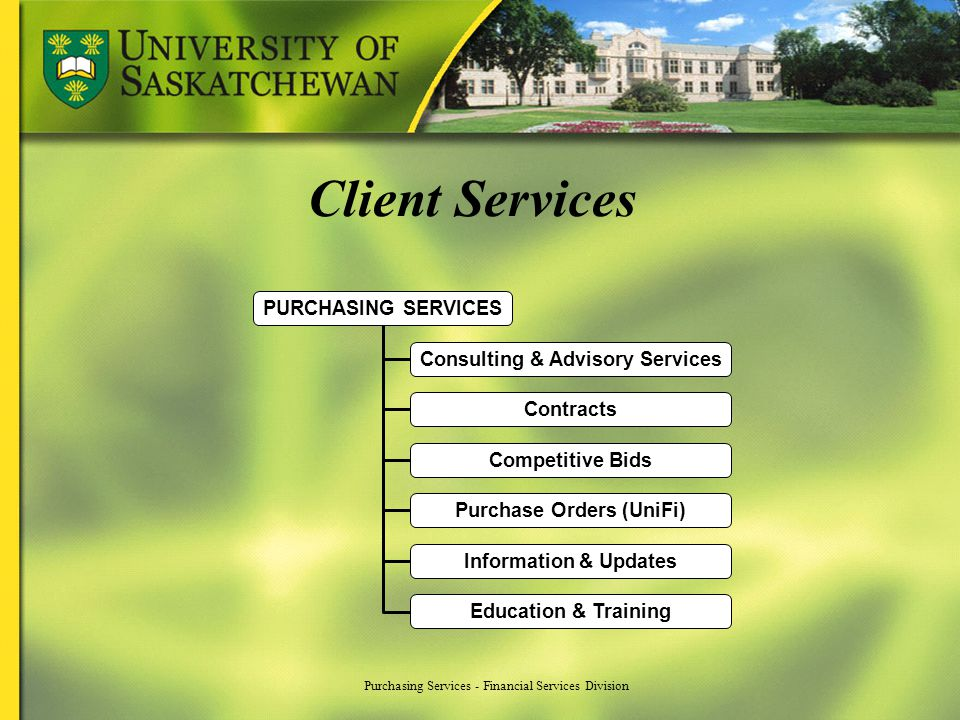 Purchasing Services - Financial Services Division Client Services PURCHASING SERVICES Consulting & Advisory Services Contracts Competitive Bids Purcha