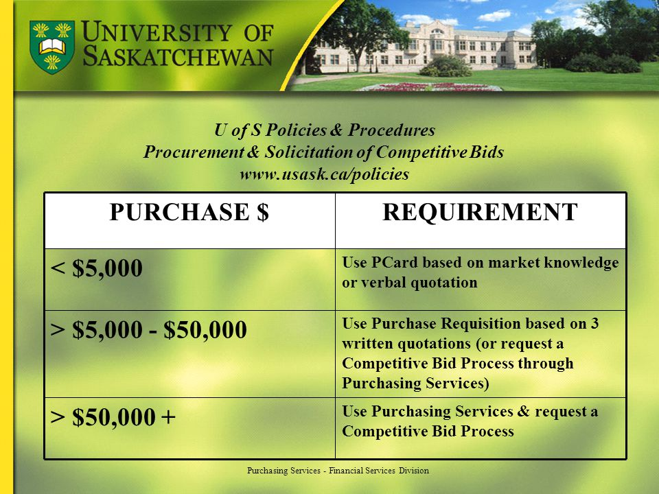 Purchasing Services - Financial Services Division U of S Policies & Procedures Procurement & Solicitation of Competitive Bids www.usask.ca/policies Us
