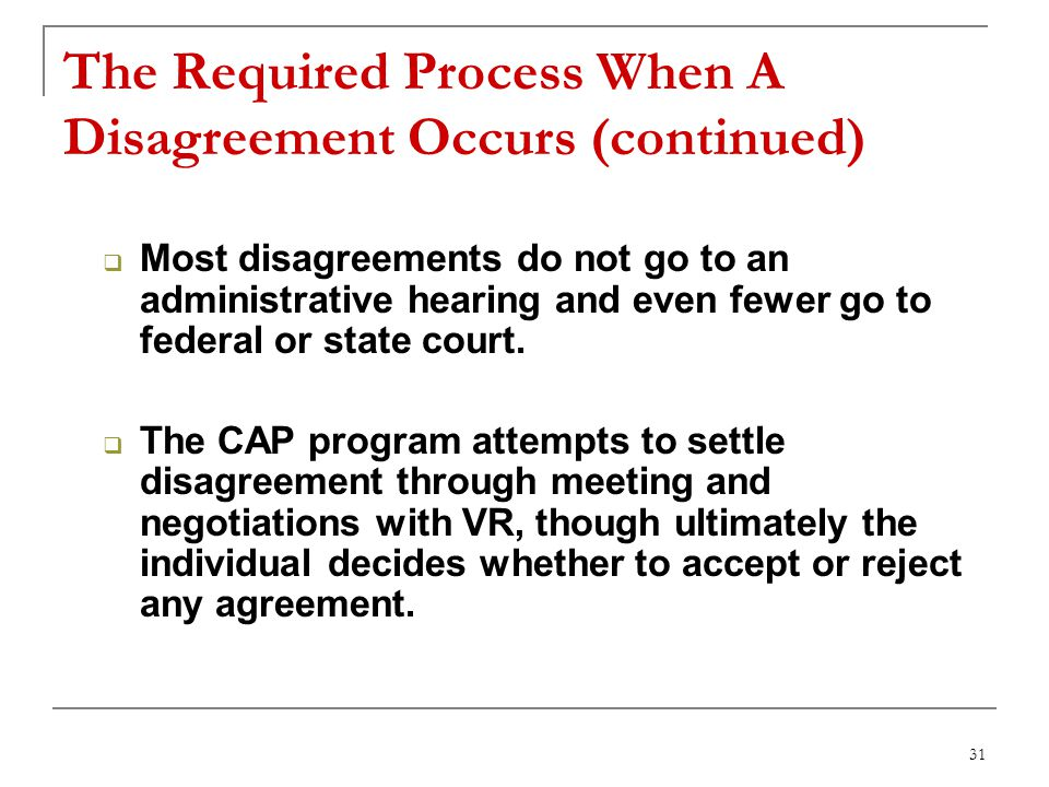 31 The Required Process When A Disagreement Occurs (continued) Most disagreements do not go to an administrative hearing and even fewer go to federal or state court.