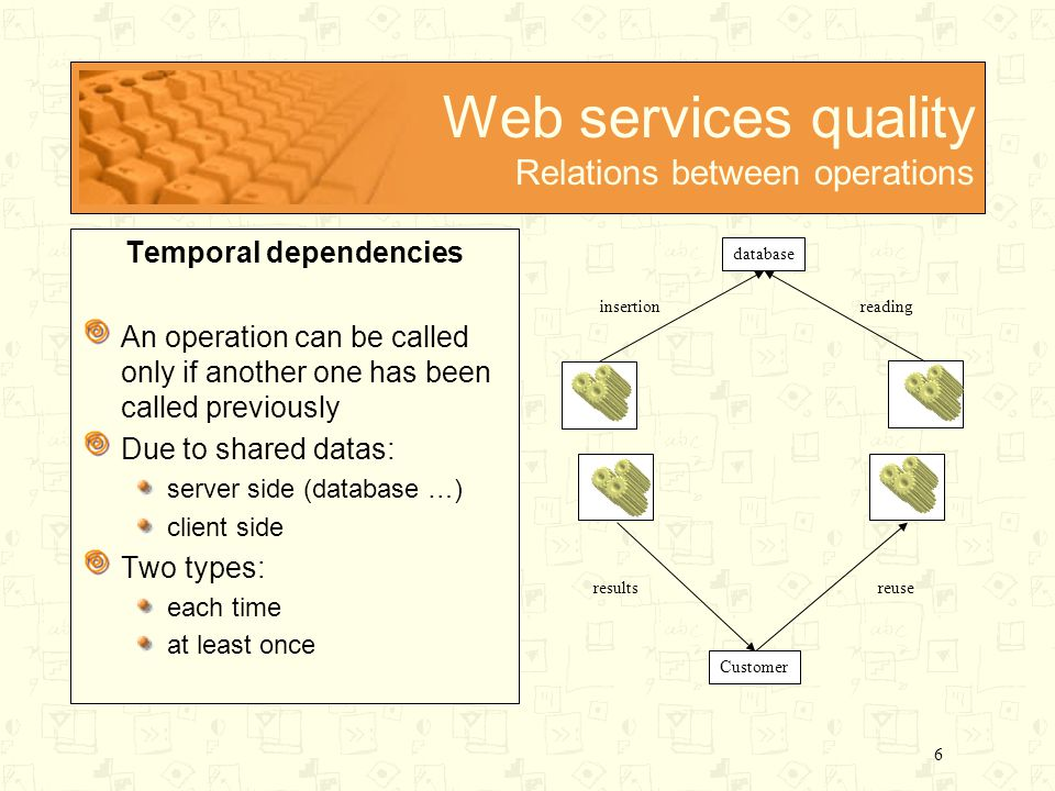 6 Web services quality Relations between operations Temporal dependencies An operation can be called only if another one has been called previously Due to shared datas: server side (database …) client side Two types: each time at least once database insertionreading Customer resultsreuse