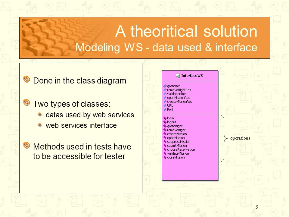 9 A theoritical solution Modeling WS - data used & interface Done in the class diagram Two types of classes: datas used by web services web services interface Methods used in tests have to be accessible for tester operations