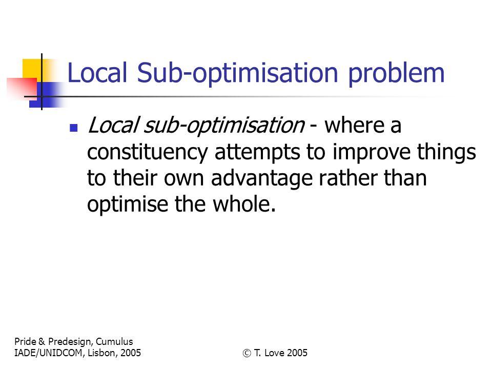 Pride & Predesign, Cumulus IADE/UNIDCOM, Lisbon, 2005© T. Love 2005 Local Sub-optimisation problem Local sub-optimisation - where a constituency attem
