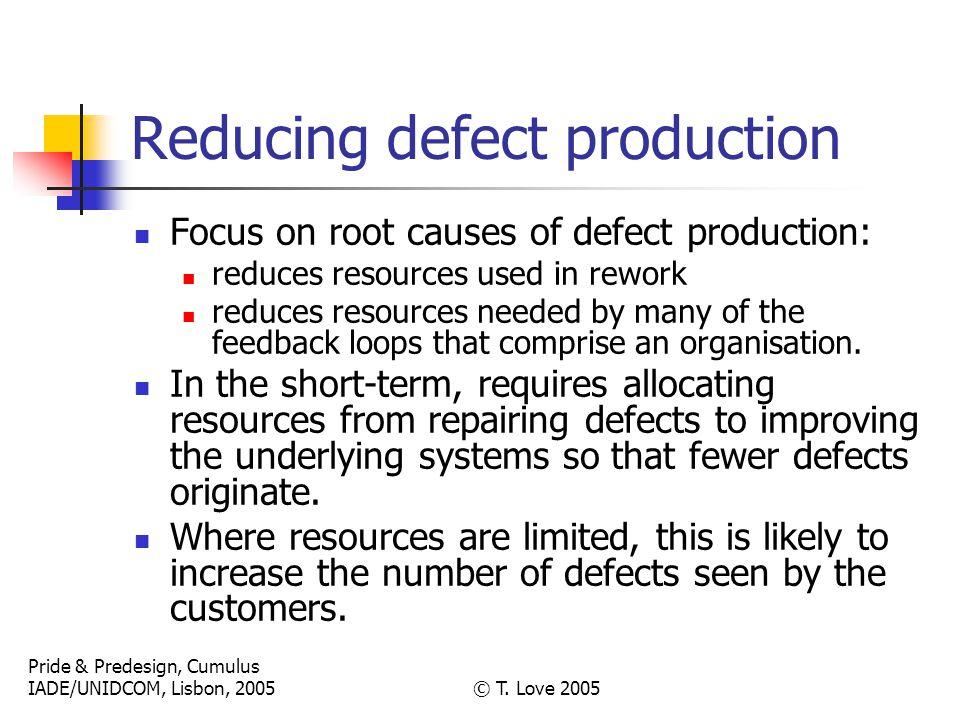 Pride & Predesign, Cumulus IADE/UNIDCOM, Lisbon, 2005© T. Love 2005 Reducing defect production Focus on root causes of defect production: reduces reso