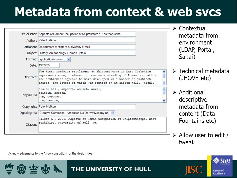 Metadata from context & web svcs Contextual metadata from environment (LDAP, Portal, Sakai) Technical metadata (JHOVE etc) Additional descriptive metadata from content (Data Fountains etc) Allow user to edit / tweak Acknowledgements to the Arrow consortium for the design idea