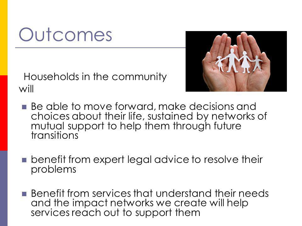 Outcomes Be able to move forward, make decisions and choices about their life, sustained by networks of mutual support to help them through future tra