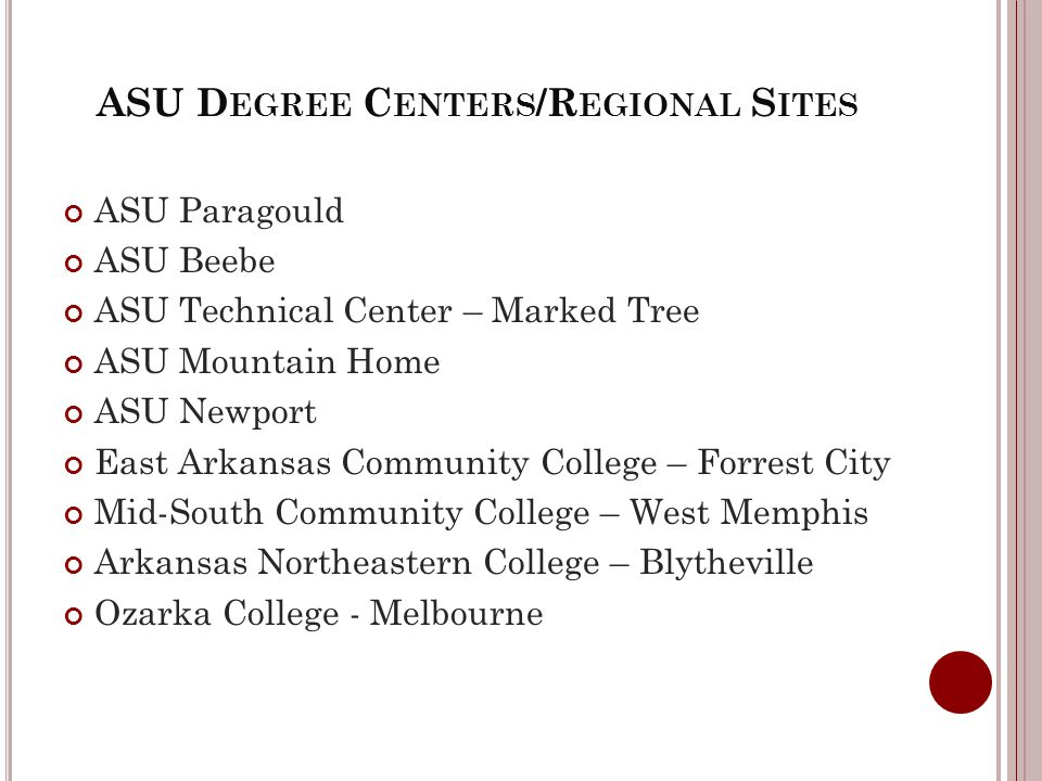 ASU D EGREE C ENTERS /R EGIONAL S ITES ASU Paragould ASU Beebe ASU Technical Center – Marked Tree ASU Mountain Home ASU Newport East Arkansas Community College – Forrest City Mid-South Community College – West Memphis Arkansas Northeastern College – Blytheville Ozarka College - Melbourne