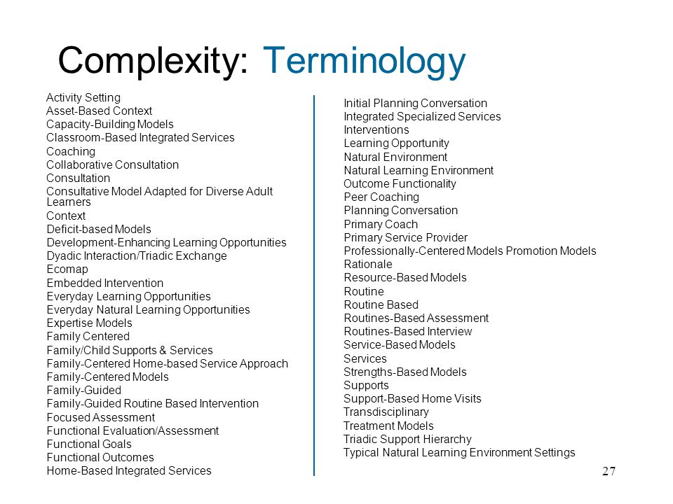 27 Complexity: Terminology Activity Setting Asset-Based Context Capacity-Building Models Classroom-Based Integrated Services Coaching Collaborative Consultation Consultation Consultative Model Adapted for Diverse Adult Learners Context Deficit-based Models Development-Enhancing Learning Opportunities Dyadic Interaction/Triadic Exchange Ecomap Embedded Intervention Everyday Learning Opportunities Everyday Natural Learning Opportunities Expertise Models Family Centered Family/Child Supports & Services Family-Centered Home-based Service Approach Family-Centered Models Family-Guided Family-Guided Routine Based Intervention Focused Assessment Functional Evaluation/Assessment Functional Goals Functional Outcomes Home-Based Integrated Services Initial Planning Conversation Integrated Specialized Services Interventions Learning Opportunity Natural Environment Natural Learning Environment Outcome Functionality Peer Coaching Planning Conversation Primary Coach Primary Service Provider Professionally-Centered Models Promotion Models Rationale Resource-Based Models Routine Routine Based Routines-Based Assessment Routines-Based Interview Service-Based Models Services Strengths-Based Models Supports Support-Based Home Visits Transdisciplinary Treatment Models Triadic Support Hierarchy Typical Natural Learning Environment Settings
