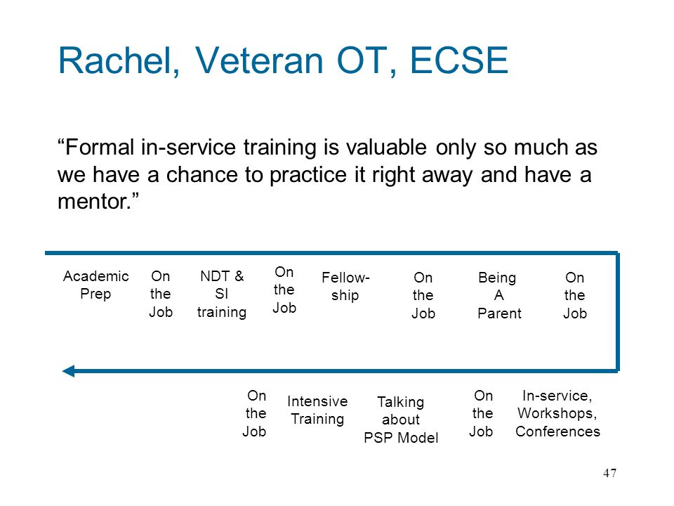 47 Rachel, Veteran OT, ECSE Formal in-service training is valuable only so much as we have a chance to practice it right away and have a mentor.