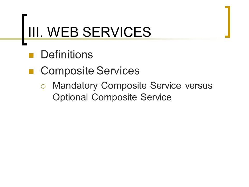 III. WEB SERVICES Definitions Composite Services Mandatory Composite Service versus Optional Composite Service