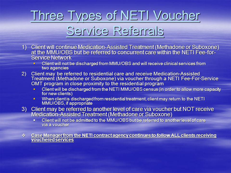 Three Types of NETI Voucher Service Referrals 1)Client will continue Medication-Assisted Treatment (Methadone or Suboxone) at the MMU/OBS but be referred to concurrent care within the NETI Fee-for- Service Network Client will not be discharged from MMU/OBS and will receive clinical services from two agencies Client will not be discharged from MMU/OBS and will receive clinical services from two agencies 2)Client may be referred to residential care and receive Medication-Assisted Treatment (Methadone or Suboxone) via voucher through a NETI Fee-For-Service OMT program in close proximity to the residential program Client will be discharged from the NETI MMU/OBS census (in order to allow more capacity for new clients) Client will be discharged from the NETI MMU/OBS census (in order to allow more capacity for new clients) When client is discharged from residential treatment, client may return to the NETI MMU/OBS, if appropriate When client is discharged from residential treatment, client may return to the NETI MMU/OBS, if appropriate 3)Client may be referred to another level of care via voucher but NOT receive Medication-Assisted Treatment (Methadone or Suboxone) Client will not be admitted to the MMU/OBS but be referred to another level of care via a voucher Client will not be admitted to the MMU/OBS but be referred to another level of care via a voucher Case Manager from the NETI contract agency continues to follow ALL clients receiving vouchered services Case Manager from the NETI contract agency continues to follow ALL clients receiving vouchered services