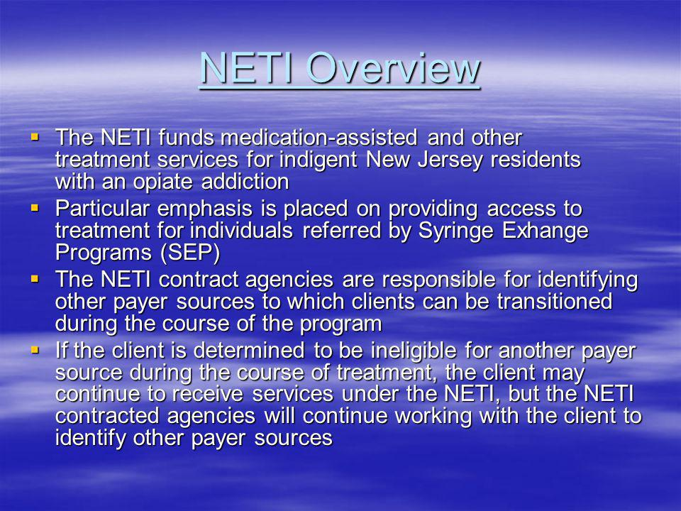 Co-occurring Service Eligibility To provide on-site reimbursable comprehensive co- occurring services, NETI programs must be accepted as eligible providers in the DAS Co-occurring Network To provide on-site reimbursable comprehensive co- occurring services, NETI programs must be accepted as eligible providers in the DAS Co-occurring Network NETI clients may be eligible to obtain co-occurring services as an enhancement at either the mobile unit, office-based program, or other NETI-approved voucher program, as long as these agencies are eligible providers in the DAS Co-occurring Network NETI clients may be eligible to obtain co-occurring services as an enhancement at either the mobile unit, office-based program, or other NETI-approved voucher program, as long as these agencies are eligible providers in the DAS Co-occurring Network Co-occurring services can only be accessed as an enhancement to other treatment services within the NETI Co-occurring services can only be accessed as an enhancement to other treatment services within the NETI