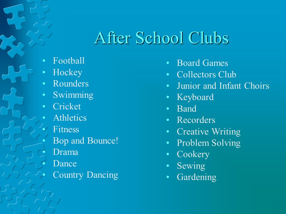 After School Clubs Football Hockey Rounders Swimming Cricket Athletics Fitness Bop and Bounce.