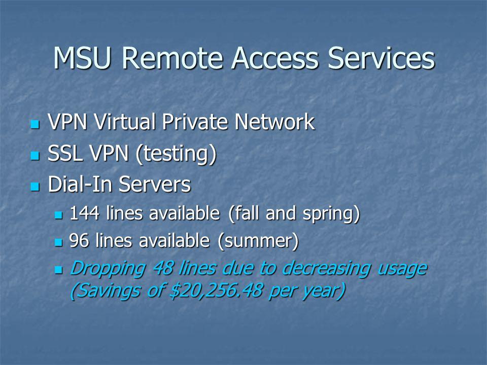 MSU Remote Access Services VPN Virtual Private Network VPN Virtual Private Network SSL VPN (testing) SSL VPN (testing) Dial-In Servers Dial-In Servers