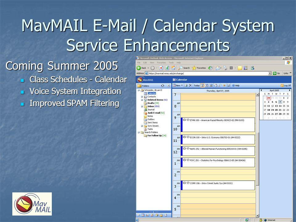 MavMAIL E-Mail / Calendar System Service Enhancements Coming Summer 2005 Class Schedules - Calendar Class Schedules - Calendar Voice System Integratio