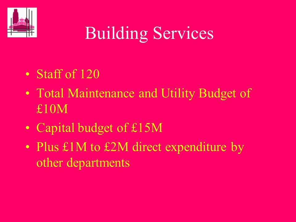 Building Services –maintenance –refurbishment –new build –energy management –environmental services