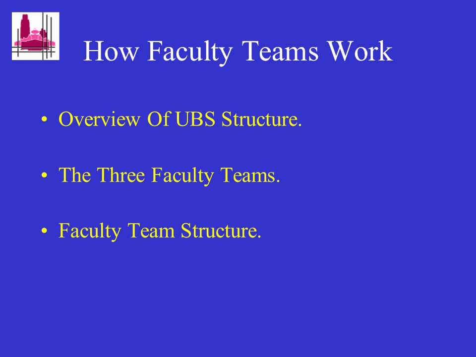 How Faculty Teams Work Overview Of UBS Structure. The Three Faculty Teams. Faculty Team Structure.