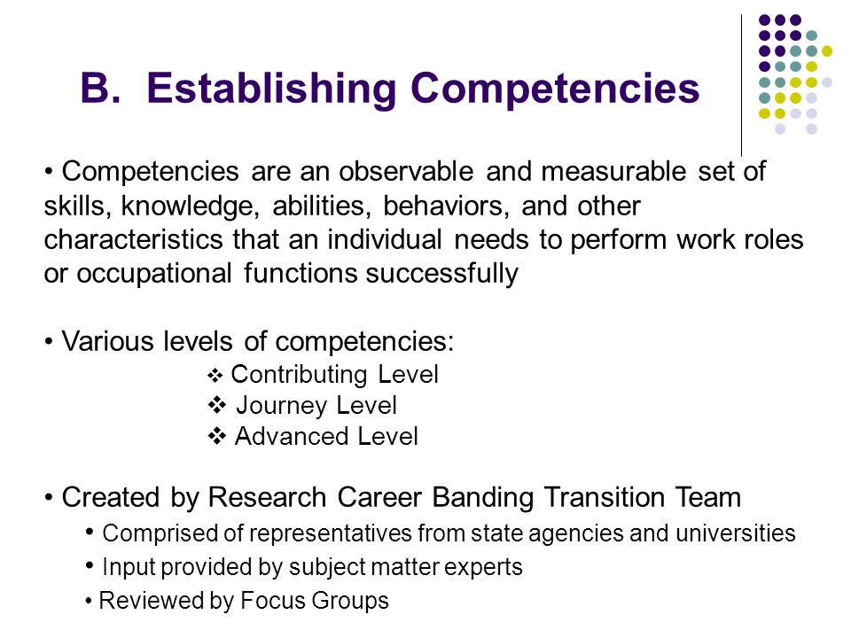 B. Establishing Competencies Competencies are an observable and measurable set of skills, knowledge, abilities, behaviors, and other characteristics t