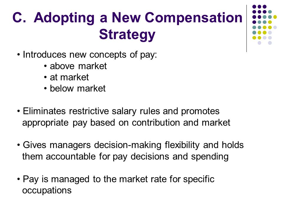 C. Adopting a New Compensation Strategy Introduces new concepts of pay: above market at market below market Eliminates restrictive salary rules and pr