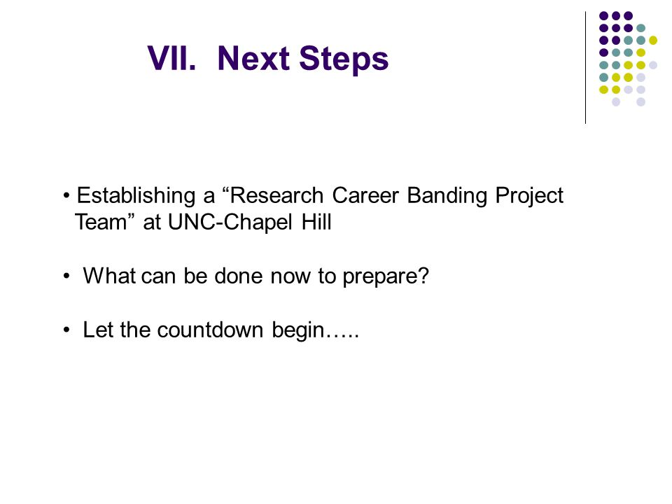 VII. Next Steps Establishing a Research Career Banding Project Team at UNC-Chapel Hill What can be done now to prepare? Let the countdown begin…..