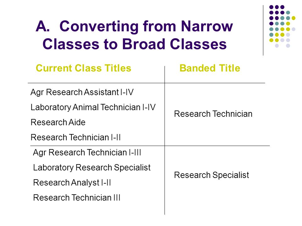 A. Converting from Narrow Classes to Broad Classes Current Class TitlesBanded Title Agr Research Assistant I-IV Laboratory Animal Technician I-IV Rese