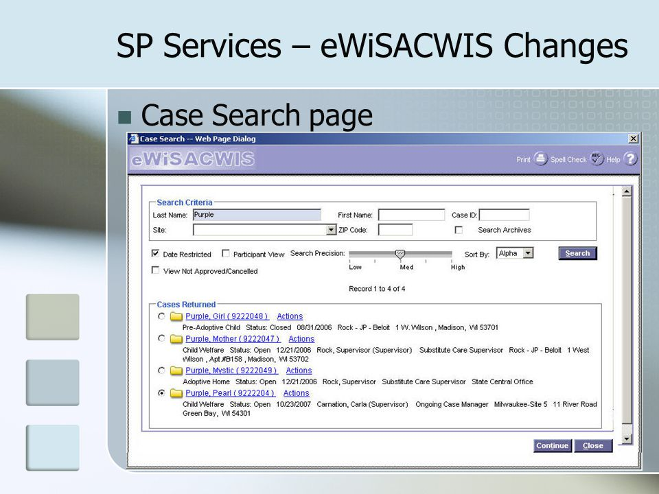 SP Services – eWiSACWIS Changes Case Search page