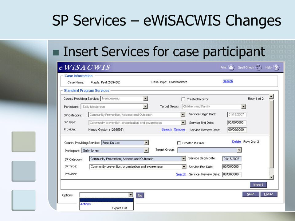SP Services – eWiSACWIS Changes Insert Services for case participant