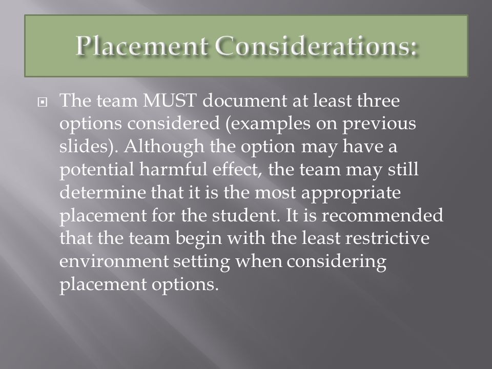 The team MUST document at least three options considered (examples on previous slides).