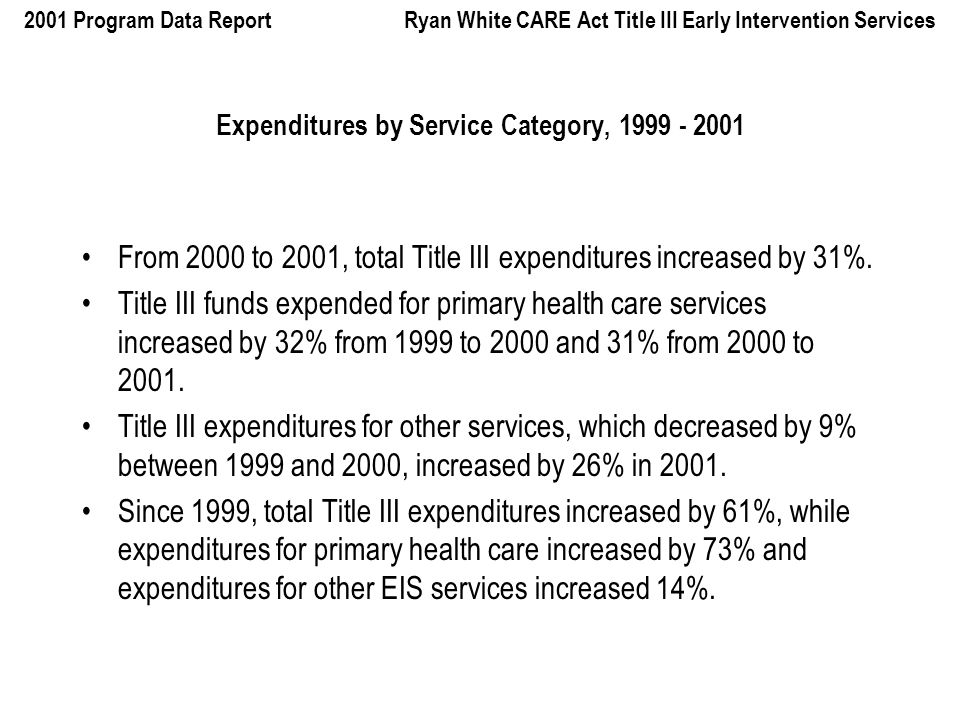 2001 Program Data Report Ryan White CARE Act Title III Early Intervention Services Expenditures by Service Category, From 2000 to 2001, total Title III expenditures increased by 31%.