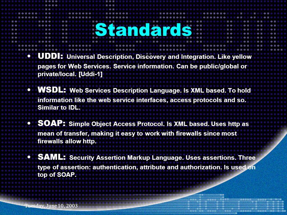Tuesday, June 10, 2003 Standards UDDI: Universal Description, Discovery and Integration.