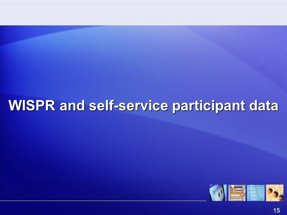 15 WISPR and self-service participant data