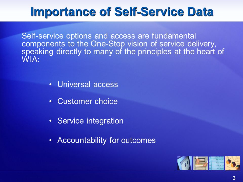 3 Importance of Self-Service Data Self-service options and access are fundamental components to the One-Stop vision of service delivery, speaking directly to many of the principles at the heart of WIA: Universal access Customer choice Service integration Accountability for outcomes