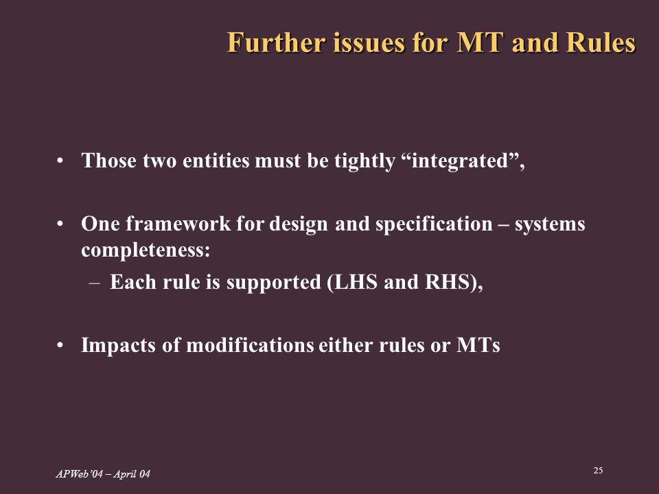 APWeb04 – April Further issues for MT and Rules Those two entities must be tightly integrated, One framework for design and specification – systems completeness: –Each rule is supported (LHS and RHS), Impacts of modifications either rules or MTs