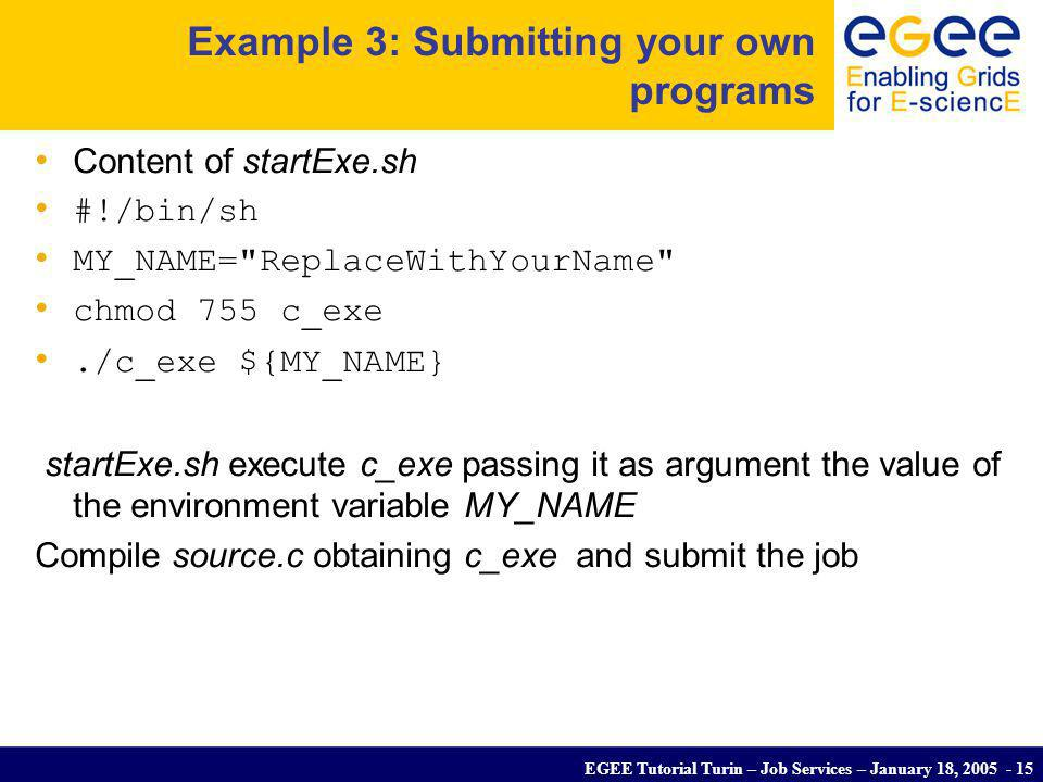 EGEE Tutorial Turin – Job Services – January 18, 2005 - 15 Example 3: Submitting your own programs Content of startExe.sh #!/bin/sh MY_NAME=