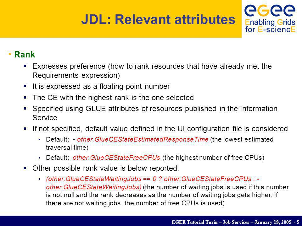 EGEE Tutorial Turin – Job Services – January 18, 2005 - 6 Job Submission edg-job-submit [–r ] [-c ] [-vo ] [-o ] -r the job is submitted directly to the computing element identified by -c the configuration file is pointed by the UI instead of the standard configuration file -vo the Virtual Organisation (if user is not happy with the one specified in the UI configuration file) -o the generated edg_jobId is written in the Useful for other commands, e.g.: edg-job-status –i (or edg_jobId) -i the status information about edg_jobId contained in the are displayed