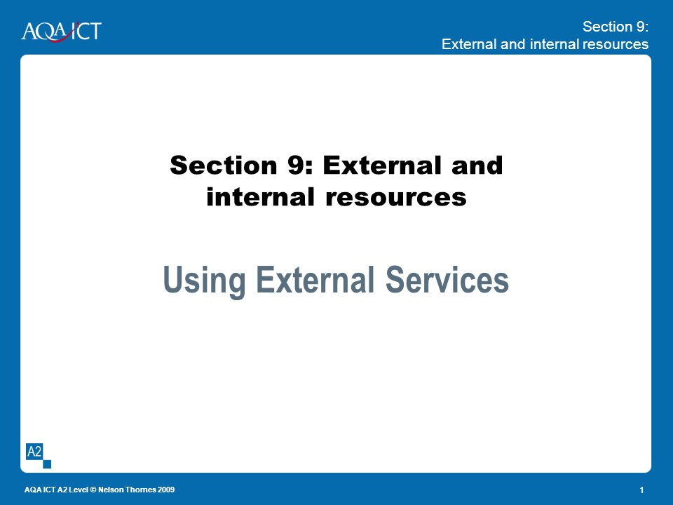 Section 9: External and internal resources AQA ICT A2 Level © Nelson Thornes 2009 1 Section 9: External and internal resources Using External Services