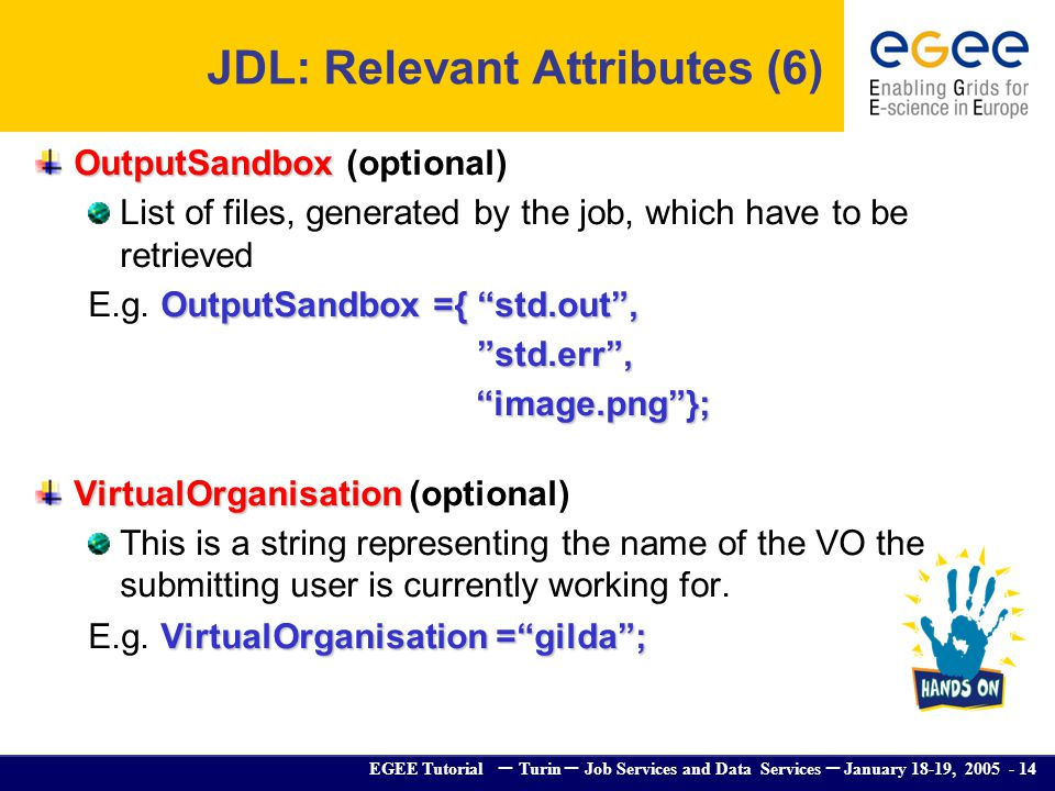 EGEE Tutorial – Turin – Job Services and Data Services – January 18-19, 2005 - 14 OutputSandbox OutputSandbox (optional) List of files, generated by t