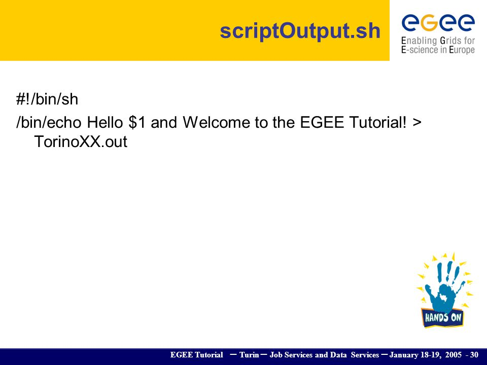 EGEE Tutorial – Turin – Job Services and Data Services – January 18-19, 2005 - 30 scriptOutput.sh #!/bin/sh /bin/echo Hello $1 and Welcome to the EGEE