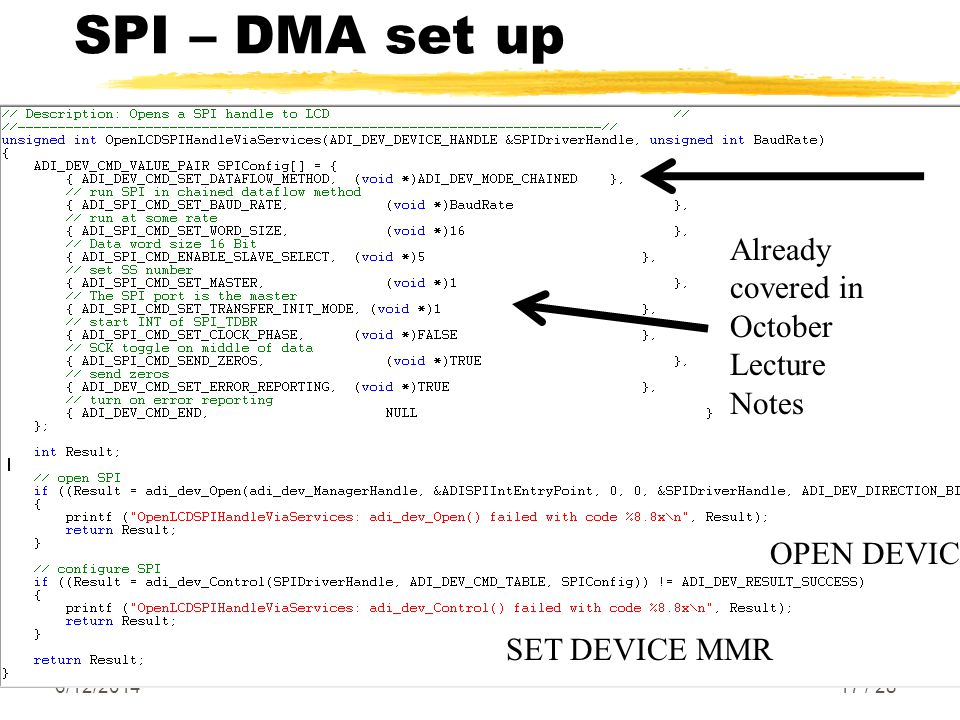 SPI – DMA set up 6/12/ / 28 Already covered in October Lecture Notes OPEN DEVICE SET DEVICE MMR