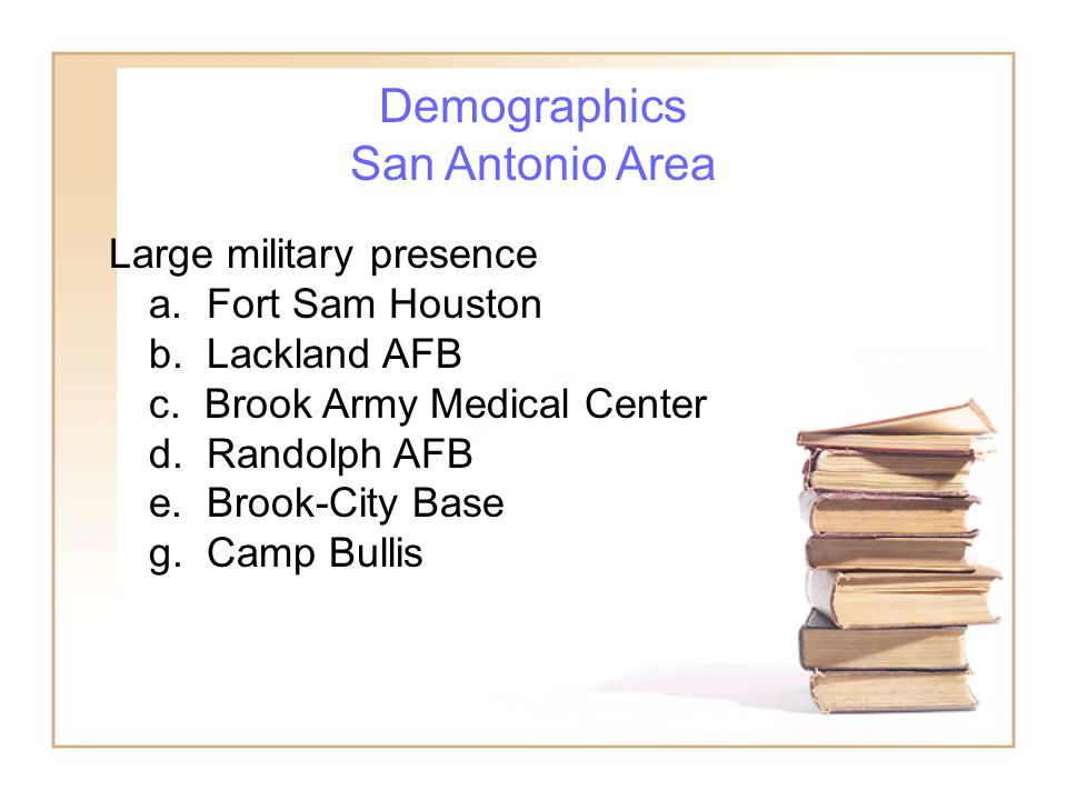 Demographics San Antonio Area Large military presence a.