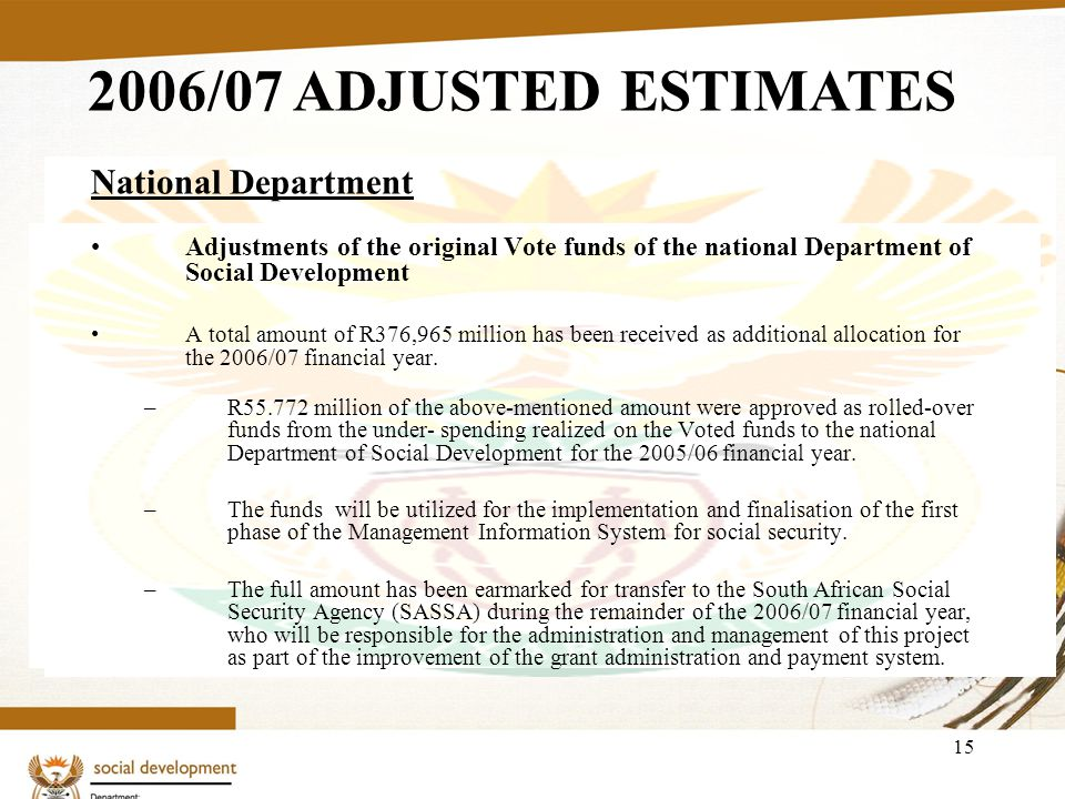 15 National Department Adjustments of the original Vote funds of the national Department of Social Development A total amount of R376,965 million has