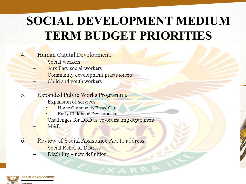 5 SOCIAL DEVELOPMENT MEDIUM TERM BUDGET PRIORITIES 4.Human Capital Development. –Social workers –Auxillary social workers –Community development pract