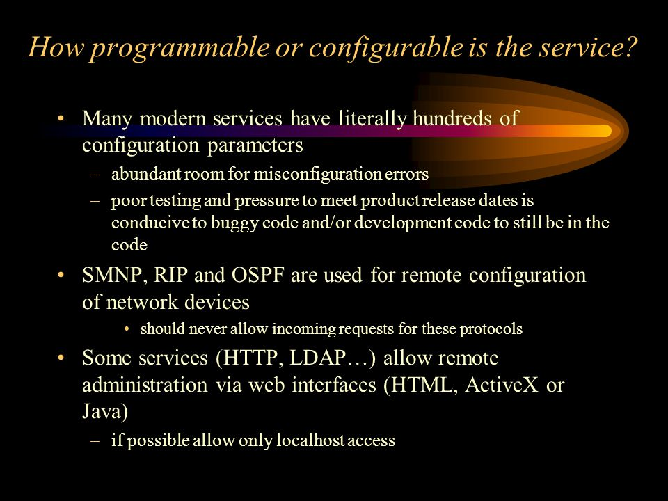 How programmable or configurable is the service.