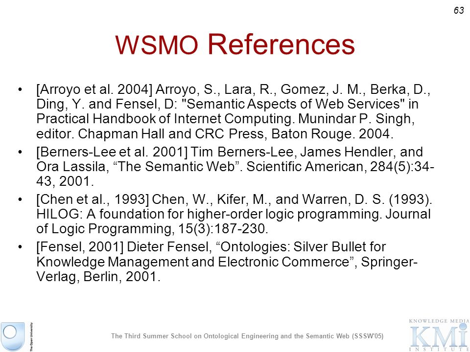63 The Third Summer School on Ontological Engineering and the Semantic Web (SSSW 05) WSMO References [Arroyo et al.