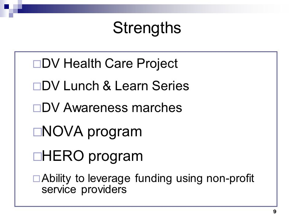 9 Strengths DV Health Care Project DV Lunch & Learn Series DV Awareness marches NOVA program HERO program Ability to leverage funding using non-profit service providers