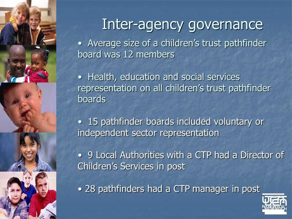 Inter-agency governance Average size of a childrens trust pathfinder board was 12 members Average size of a childrens trust pathfinder board was 12 members Health, education and social services representation on all childrens trust pathfinder boards Health, education and social services representation on all childrens trust pathfinder boards 15 pathfinder boards included voluntary or independent sector representation 15 pathfinder boards included voluntary or independent sector representation 9 Local Authorities with a CTP had a Director of Childrens Services in post 9 Local Authorities with a CTP had a Director of Childrens Services in post 28 pathfinders had a CTP manager in post 28 pathfinders had a CTP manager in post