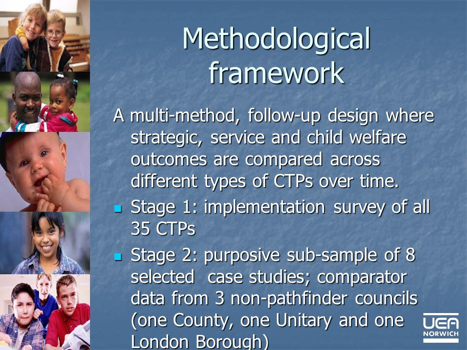 Methodological framework A multi-method, follow-up design where strategic, service and child welfare outcomes are compared across different types of CTPs over time.