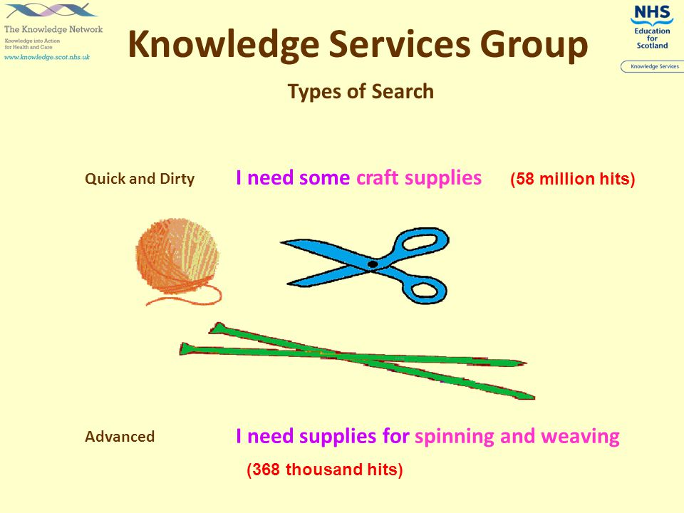 Types of Search Quick and Dirty Advanced Knowledge Services Group I need some craft supplies I need supplies for spinning and weaving (58 million hits) (368 thousand hits)