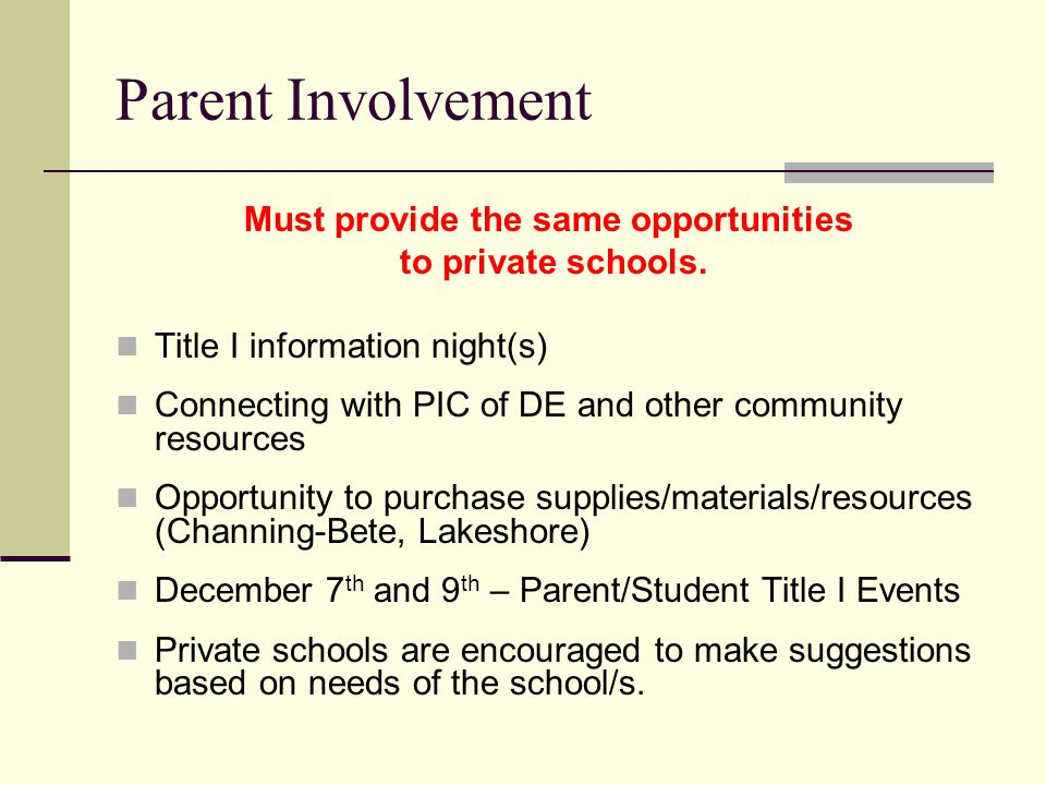 Parent Involvement Must provide the same opportunities to private schools.