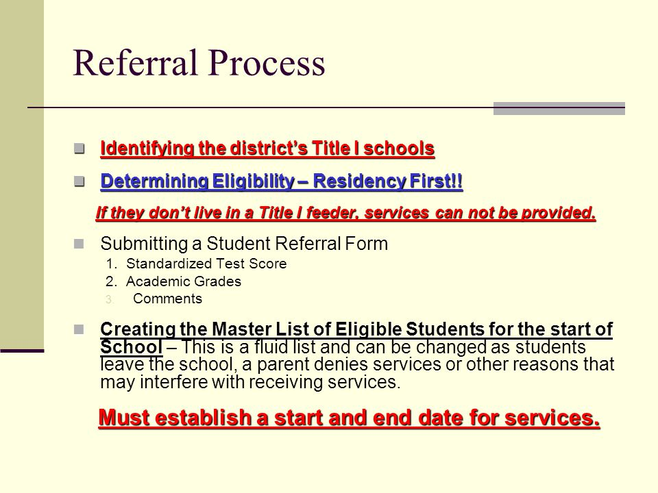 Referral Process Identifying the districts Title I schools Identifying the districts Title I schools Determining Eligibility – Residency First!.