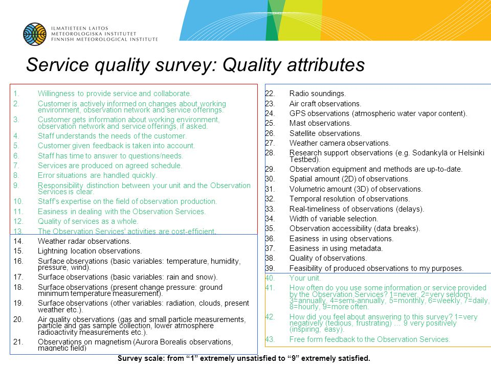 12.6.201411 Service quality survey: Quality attributes 1.Willingness to provide service and collaborate.